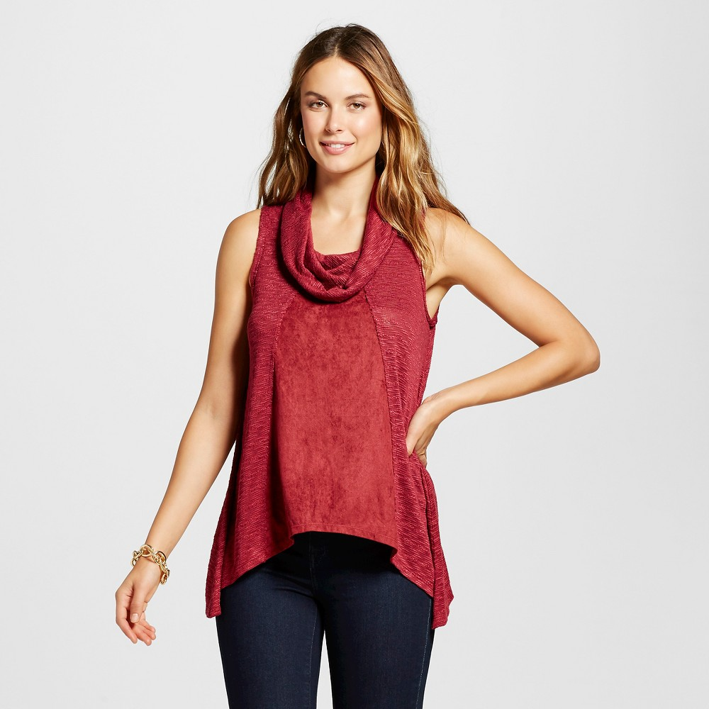 Women's Cowl Neck Tank with Suede Red S - Knox Rose, Size: Small