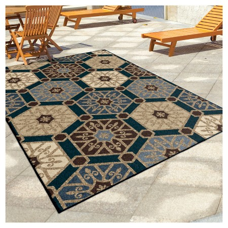 Orian rugs pandu napa indoor outdoor area rug blue target for Outdoor area rugs target