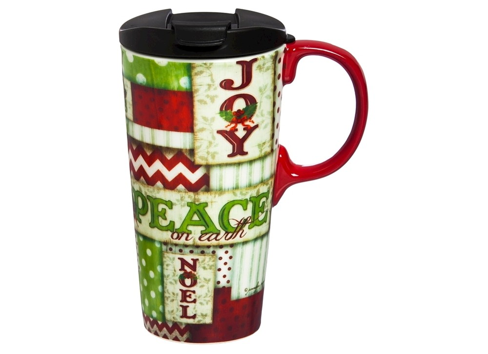 Evergreen Holiday Cheer Perfect Cup 17oz Ceramic, Red
