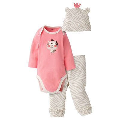 Gerber® Baby Girls' 3-Piece Long-Sleeve Onesie®, Legging & Cap - Zebra 6-9M