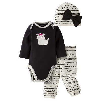 Gerber® Baby Girls' 3-Piece Long-Sleeve Onesie®, Legging & Cap - Puppy 0-3M