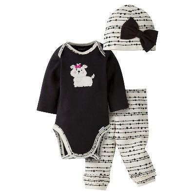 Gerber® Baby Girls' 3-Piece Long-Sleeve Onesie®, Legging & Cap - Puppy 0-3M