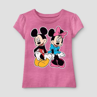 Baby Girls' Disney Mickey and Minnie T-Shirt 12M - Pink
