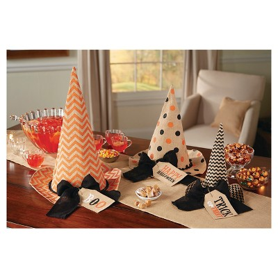 Halloween Burlap Witch Hat Decor - Set of 2