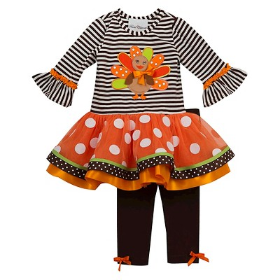 Rare, Too! Baby Girls' Striped Turkey Tutu Set - Brown/White 3-6M