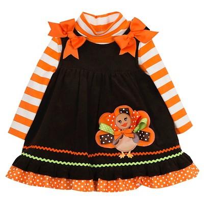 Rare, Too! Baby Girls' Striped Corduroy Jumper with Turkey - Brown/Orange 3-6M