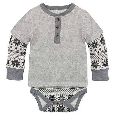 Burt's Bees Baby™ Fair Aisle Thermal Bodysuit - Grey 0-3M