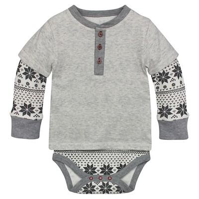 Burt's Bees Baby™ Fair Aisle Thermal Bodysuit - Grey 3-6M