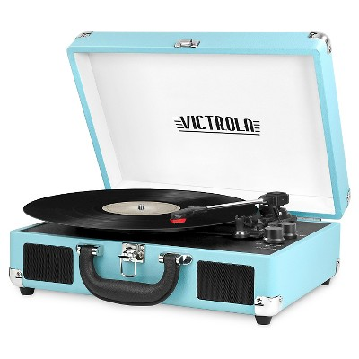Victrola 3-Speed Bluetooth Suitcase Turntable with built in Stereo Speakers Turquoise