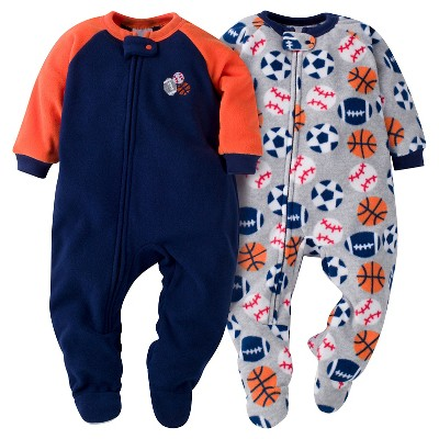 Baby Boys' Gerber® Sports Balls 2-Pack One-Piece Footed Sleeper Pajamas Navy 6-9M