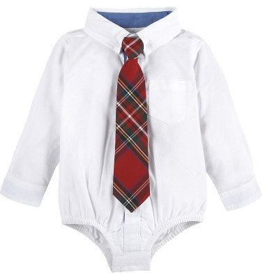 G-Cutee® Baby Boys' Oxford Bodysuit - White 3-6M