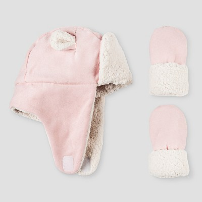 Baby Girls' Igloos Faux Shearling Trapper Hat and Mittens Set Pink 12M-24M
