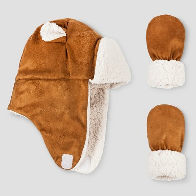Baby Girls' Igloos Faux Shearling Trapper Hat and Mittens Set Tan 12M-24M