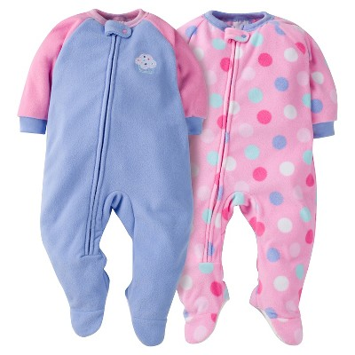 Baby Girls' Gerber® Cupcake 2-Pack One-Piece Footed Sleeper Pajamas Purple 6-9M