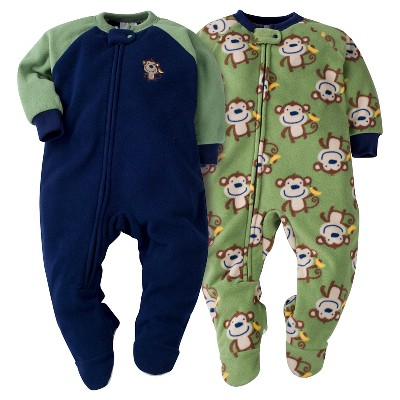 Baby Boys' Gerber® Monkey 2-Pack One-Piece Footed Sleeper Pajamas Navy 6-9M