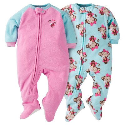 Baby Girls' Gerber® Monkey 2-Pack One-Piece Footed Sleeper Pajamas Pink 6-9M