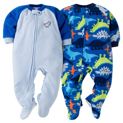 Baby Boys' Gerber® Happy Dino 2-Pack One-Piece Footed Sleeper Pajamas Lite Blue 6-9M
