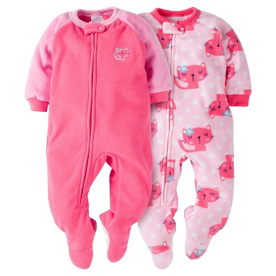 Baby Girls' Gerber® Cats 2-Pack One-Piece Footed Sleeper Pajamas Pink 6-9M