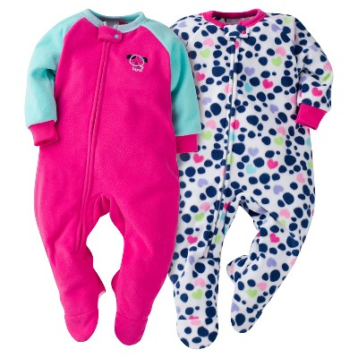 Baby Girls' Gerber® Dogs 2-Pack One-Piece Footed Sleeper Pajamas Pink 6-9M