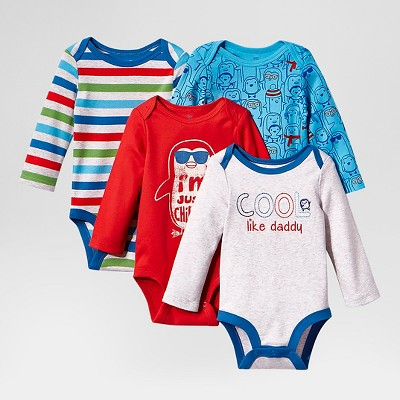 Lamaze Baby Boys' Organic 4 Pack Long Sleeve Bodysuits - Blue 6M