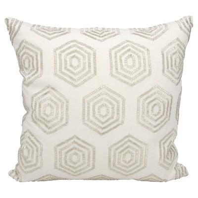 """Beaded Hexagon Throw Pillow White (18""""x18"""") - Mina Victory"""