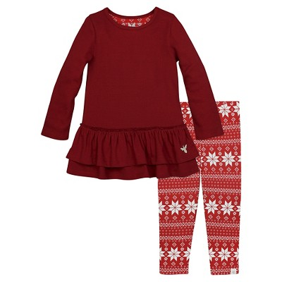 Burt's Bees Baby™ Ruffle Thermal Dress & Legging Set - Cranberry 0-3M