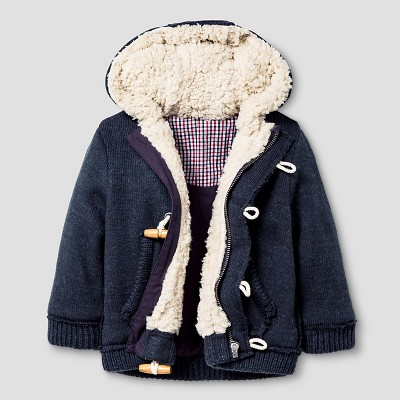 Baby Boys' RBX Toggle Button Up Sweater Jacket Charcoal 12M