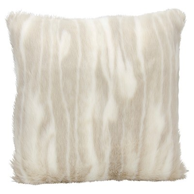 "Faux Fur 1 Sided Throw Pillow Beige (20""x20"") - Mina Victory"