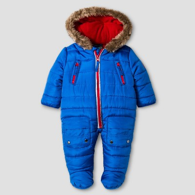Baby Boys' RBX Puffer One-Piece Snowsuit Navy 0-3M
