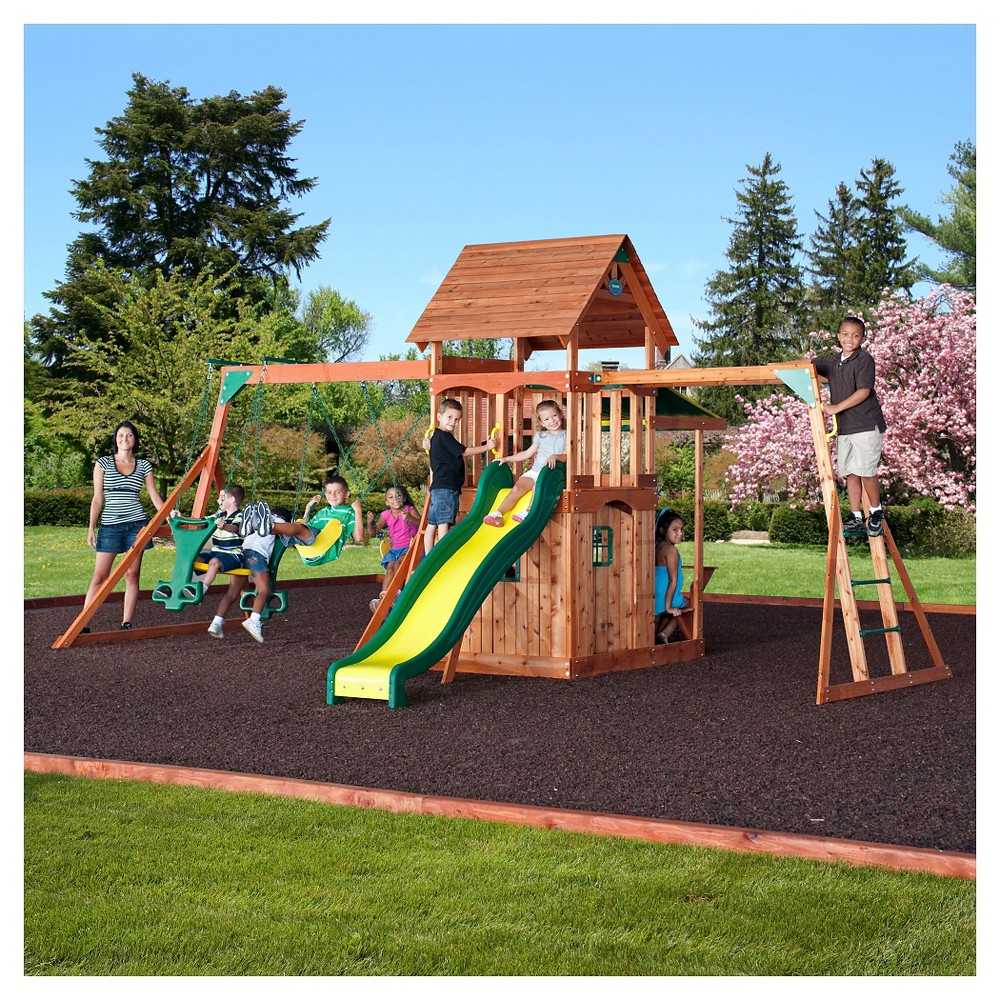 compare backyard discovery shenandoah cedar wood swing set