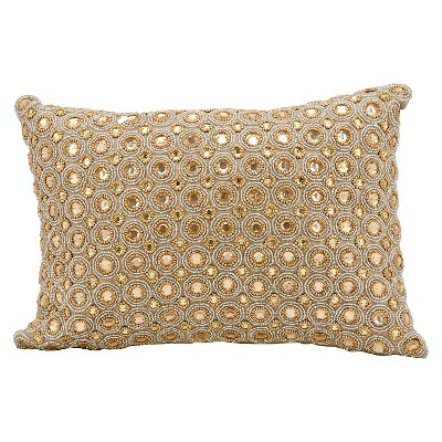 "Marble Beads Throw Pillow Beige (10""x14"") - Mina Victory"