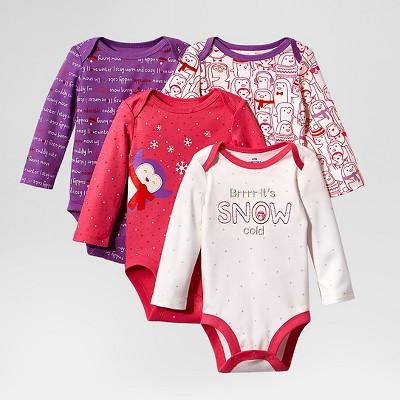 Lamaze Baby Girls' Organic 4 Pack Bodysuits - Pink 6M