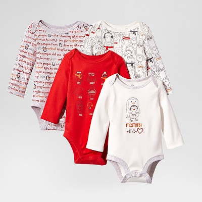 Lamaze Baby Organic 4 Pack Long Sleeve Holiday Bodysuits - Red 3M