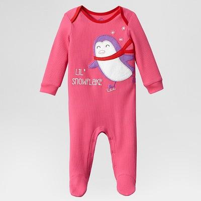 Lamaze Baby Girls' Organic Waffle Footed Sleepers - Pink 3M