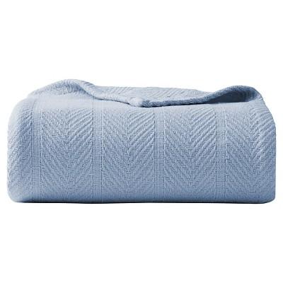 Herringbone Cotton Blanket (King) Meridian Blue - Eddie Bauer®