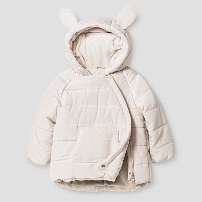 Baby Girls' Stevies Asymmetrical Puffer Jacket White 12M