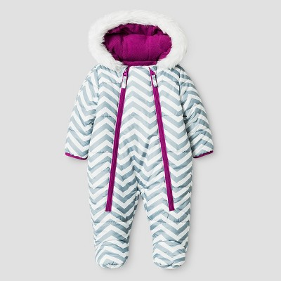 Baby Girls' Stevies Zig Zag Print One-Piece Snowsuit Grey/White 3-6M