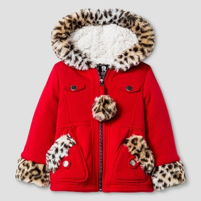 Baby Girls' S. Rothschild Leopard Fleece with Sherpa Jacket Red 12M