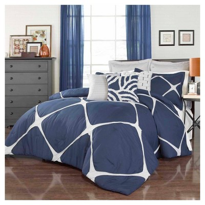 Cersei Fashion Comforter Set King Navy 3 Piece - Vue®