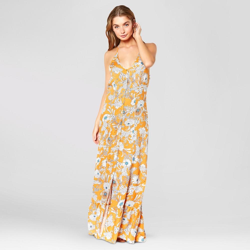 Women's Floral Halter Maxi Dress Yellow M - Made by Minkpink (Juniors'), Size: Medium