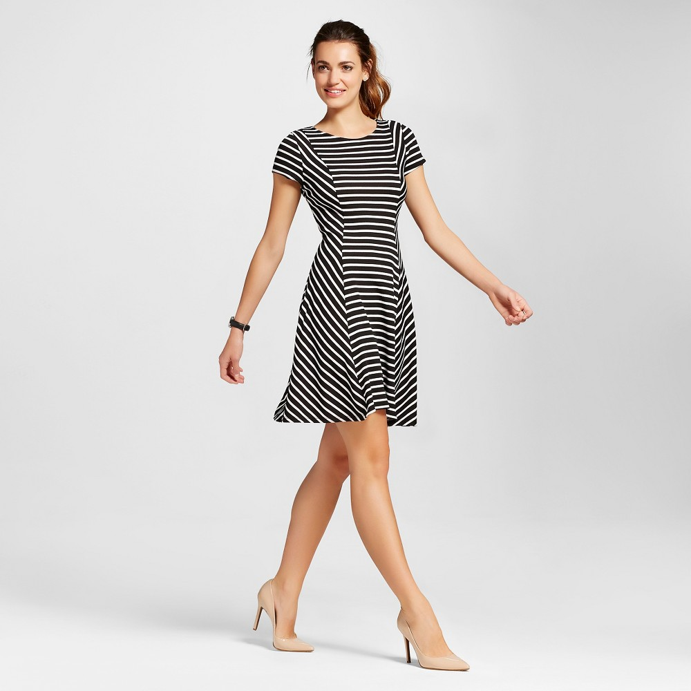 Women's Striped T-shirt Fit and Flare Dress Black/White L - Como Black, Size: Large