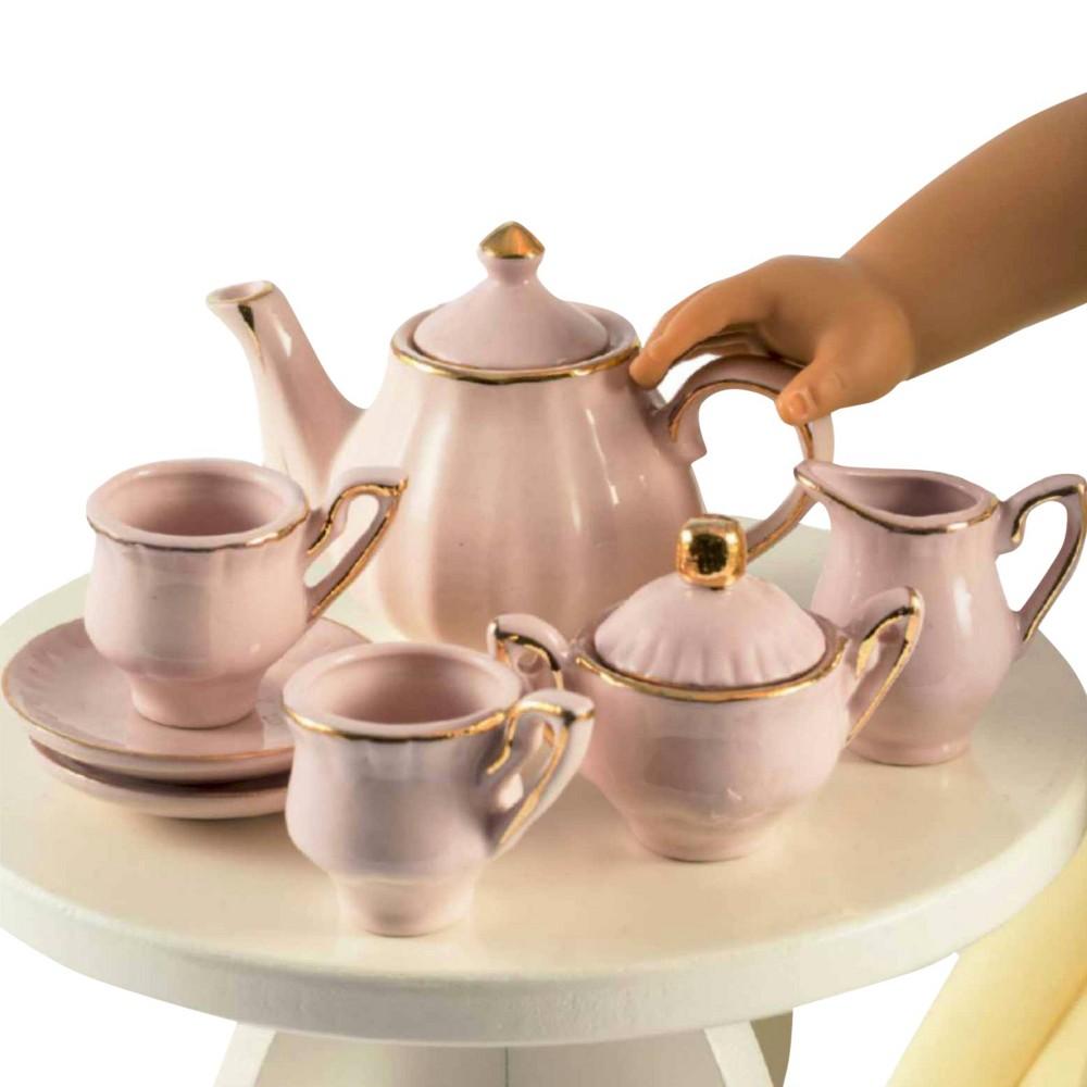 18 Inch Doll Kitchen Dish Accessory,Princess Pink Fine China Tea Set& Keepsake Box