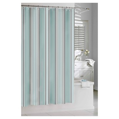 "Capri Stripe Shower Curtain Spa Blue (74""x74"") - Kassatex"