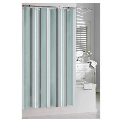 "Capri Stripe Shower Curtain Spa Blue (74""x74"") - Kassatex"