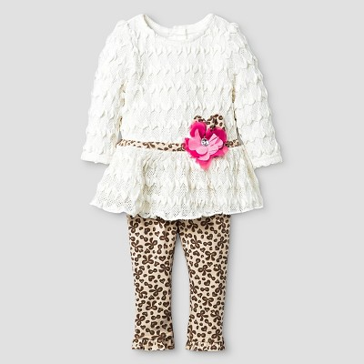 Baby Grand Signature Baby Girls' Textured Top with Printed Leggings - Off White 3-6M