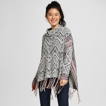 Women's Cowl Poncho Blue Pattern - Mossimo Supply Co.™ (Juniors')