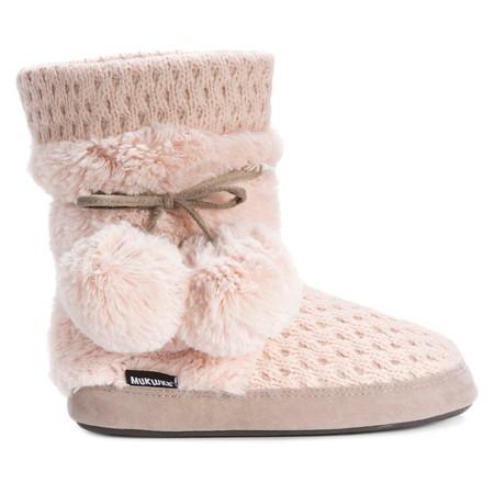 s muk luks 174 delanie pom pom sweater knit slipper