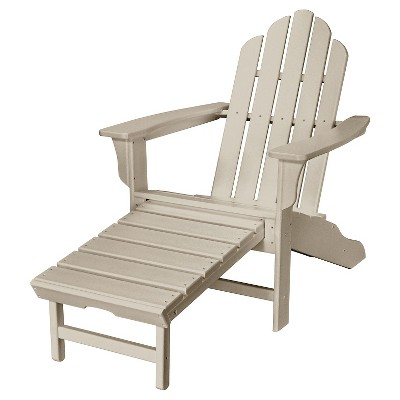 Hanover All-Weather Contoured Adirondack Chair with Hideaway Ottoman- Sandy Shore