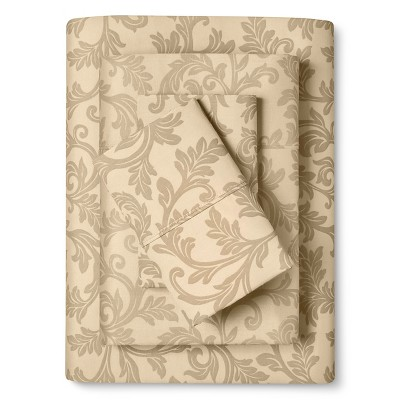 Home Styles Damask Cotton Sheet Set (Queen) Taupe - Elite Home