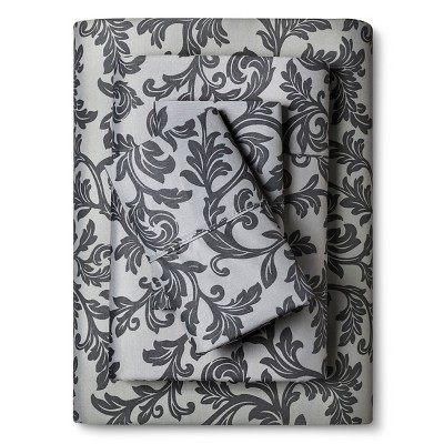 Home Styles Damask Cotton Sheet Set (King) Grey - Elite Home